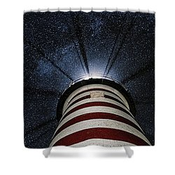 West Quoddy Head Lighthouse Night Light Shower Curtain by Marty Saccone