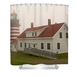 West Quoddy In Fog Shower Curtain by Brent L Ander
