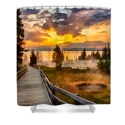 West Thumb Sunrise Shower Curtain