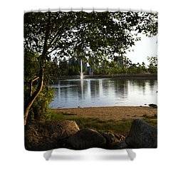 West View Of Lafarge Lake Shower Curtain by Rod Jellison