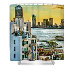 Shower Curtain featuring the photograph West Village To Jersey City Sunset by Chris Lord