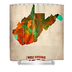West Virginia Watercolor Map Shower Curtain by Naxart Studio
