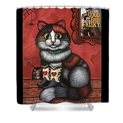 Western Boots Cat Painting Shower Curtain