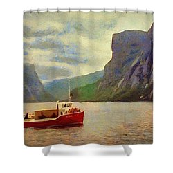 Shower Curtain featuring the painting Western Brook Pond by Jeff Kolker