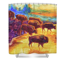 Western Buffalo Art Bison Creek Sunset Reflections Painting T Bertram Poole Shower Curtain by Thomas Bertram POOLE