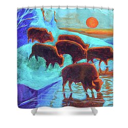 Western Buffalo Art Six Bison At Sunset Turquoise Painting Bertram Poole Shower Curtain by Thomas Bertram POOLE