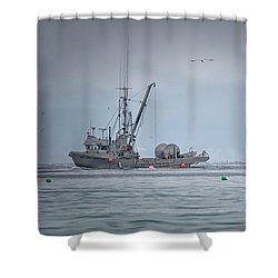 Western Gambler And Marinet Shower Curtain by Randy Hall