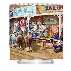 Western Jam Session Shower Curtain by Charles Hetenyi