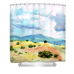 Shower Curtain featuring the painting Western Landscape by Andrew Gillette
