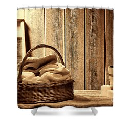 Western Laundromat   Shower Curtain by American West Legend By Olivier Le Queinec