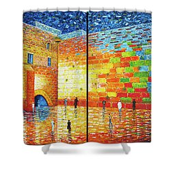 Shower Curtain featuring the painting Western Wall Jerusalem Wailing Wall Acrylic Painting by Georgeta Blanaru