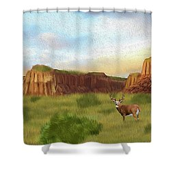 Western Whitetail Deer Shower Curtain