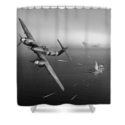 Shower Curtain featuring the photograph Westland Whirlwind Attacking E-boats Black And White Version by Gary Eason