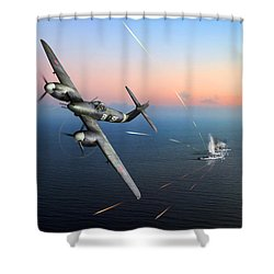 Shower Curtain featuring the photograph Westland Whirlwind Attacking E-boats by Gary Eason