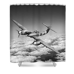 Shower Curtain featuring the photograph Westland Whirlwind Portrait Black And White Version by Gary Eason