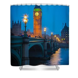 Westminster Bridge At Night Shower Curtain by Inge Johnsson