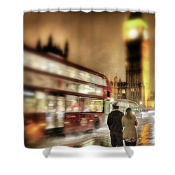 Westminster Bridge In Rain Shower Curtain by Jim Albritton