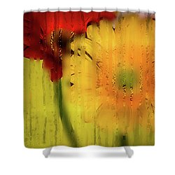 Wet Glass Flowers Shower Curtain