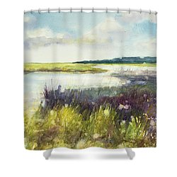 Wet Lands Shower Curtain by Judith Levins
