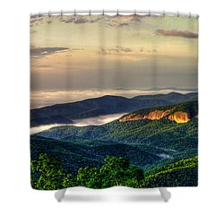 Shower Curtain featuring the photograph Looking Glass Rock Sunrise Between The Clouds Blue Ridge Parkway by Reid Callaway