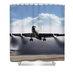 Wet Takeoff Kc-135 Shower Curtain by Peter Chilelli