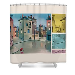 Wet Town Shower Curtain