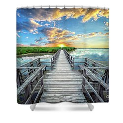 Wetland Marsh Sunrise Treasure Coast Florida Boardwalk A1 Shower Curtain