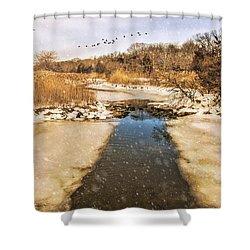 Wetland Winter Shower Curtain
