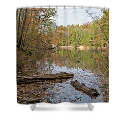 Wetlands In Autumn Shower Curtain by Kevin McCarthy