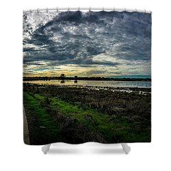Wetlands Sunset Panorama Shower Curtain