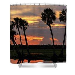 Wetlands Sunset Shower Curtain