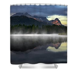 Wetterstein Mountain Reflection During Autumn Day With Morning Fog Over Geroldsee Lake, Bavarian Alps, Bavaria, Germany. Shower Curtain