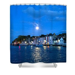 Weymouth Harbour, Full Moon Shower Curtain by Anne Kotan