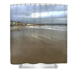 Weymouth Morning Shower Curtain by Anne Kotan