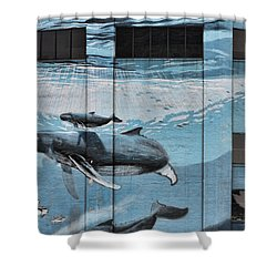 Whale Deco Building  Shower Curtain
