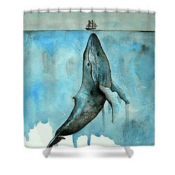 Whale Ship Shower Curtain