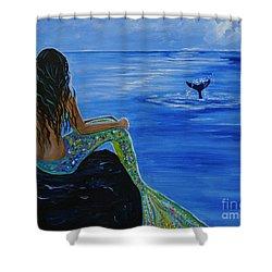 Whale Watcher Shower Curtain by Leslie Allen