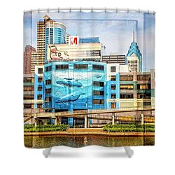 Whales In The City Shower Curtain