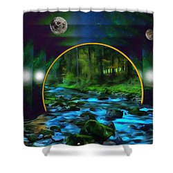Whare Peaceful Waters Flow Shower Curtain