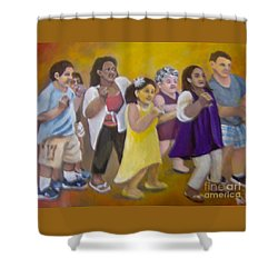 Shower Curtain featuring the painting What America Should Look Like by Saundra Johnson