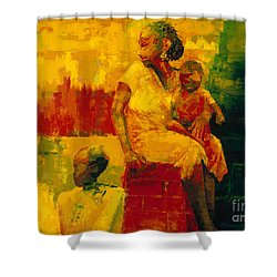 What Is It Ma Shower Curtain by Bayo Iribhogbe
