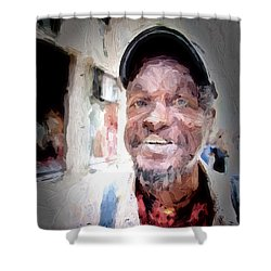 Shower Curtain featuring the photograph The Smiling Man by Jack Torcello