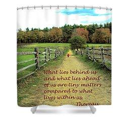 What Lies Ahead Shower Curtain by Deborah Dendler