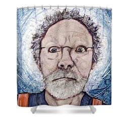 Shower Curtain featuring the painting What by Ron Richard Baviello