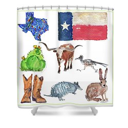What Texas Loves, Texas Longhorn Watercolor Painting By Kmcelwaine Shower Curtain by Kathleen McElwaine