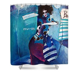 Shower Curtain featuring the painting What Time Is It by Maya Manolova