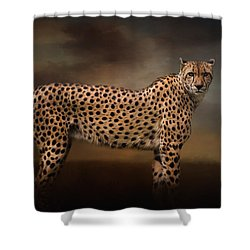 What You Imagine - Cheetah Art Shower Curtain by Jordan Blackstone