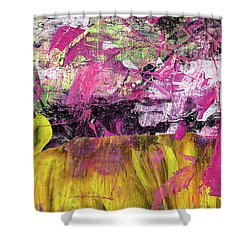Whatever Makes You Happy - Large Pink And Yellow Abstract Painting Shower Curtain