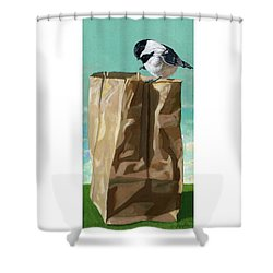 Shower Curtain featuring the painting What's In The Bag Original Painting by Linda Apple