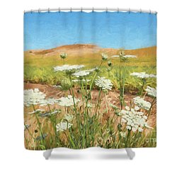 Wheat Field Wildflowers Shower Curtain